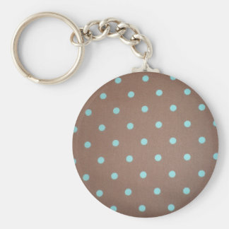 brown and teal polka dot keychain