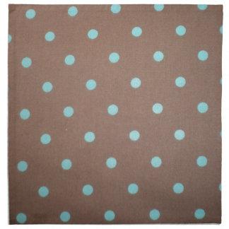 brown and teal polka dot printed napkins