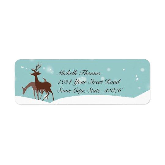 Brown and Teal Winter Deer in Snow