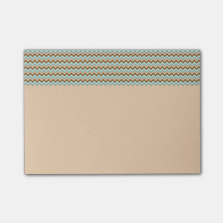 Brown and Turquoise Zigzag Chevron Post-it Notes