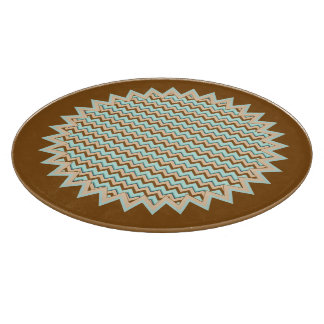 Brown and Turquoise Zigzag Chevron Starburst Cutting Board