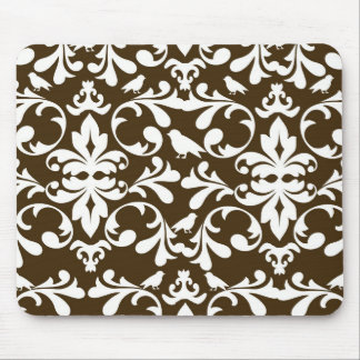 brown and white bird damask pattern mouse pad