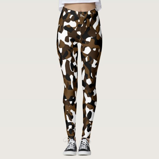 Brown and White camo Abstract Leggings