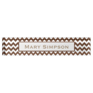 Brown and White Chevron Print Name Plate