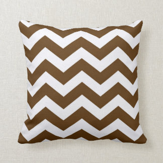 Brown And White Chevron Stripes Throw Pillow