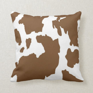 Brown and White Cow Print Throw Pillow