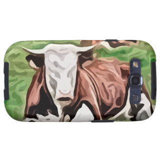 brown and white cow sitting painting samsung galaxy SIII case