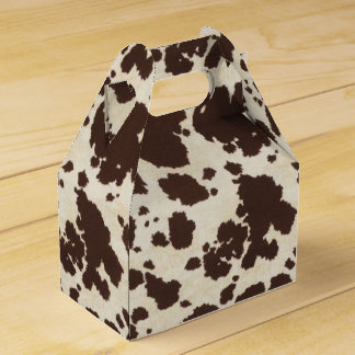 Brown and White cowprint gable style box