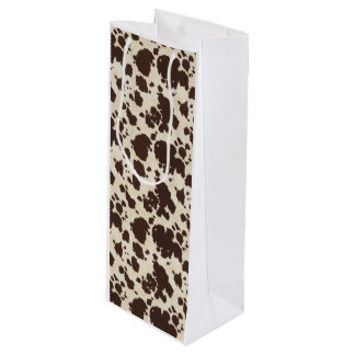 Brown and White Cowprint Wine bag