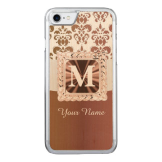 Brown and white damask carved iPhone 7 case