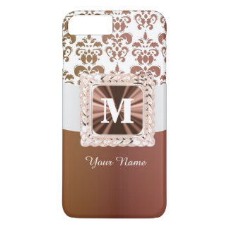 Brown and white damask pattern personalized iPhone 7 plus case
