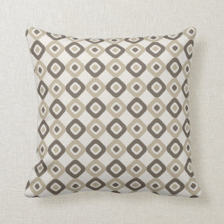 Brown and White Diamonds Contemporary Pillow