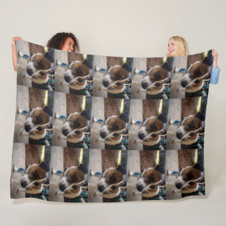 Brown And White Fox Miniature Terrier, Large Fleece Blanket