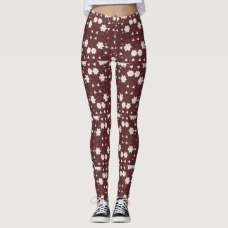 Brown and White Geometric Shapes Leggings