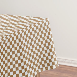 Brown And White Gingham Checkered Tablecloth