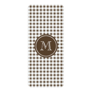Brown and White Gingham, Your Monogram Card