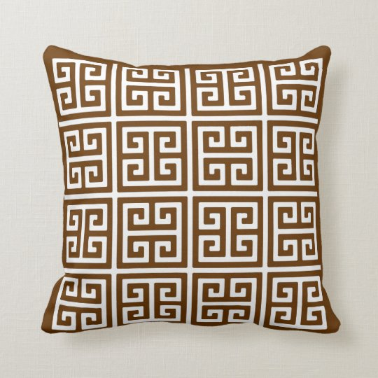 Brown And White Greek Key Pattern Throw Pillow