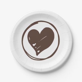 Brown And White Heart Wedding Bridal Shower Love Paper Plate