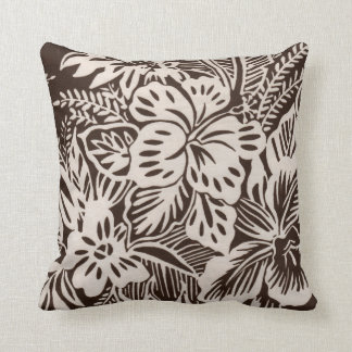 Brown and White Hibiscus Throw Pillow