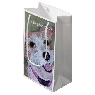 BROWN AND WHITE JACK RUSSELL| SMALL GIFT BAG