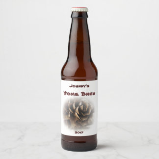 Brown and White Larch Cone Beer Label