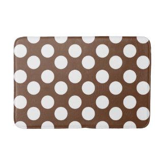 Brown and White Large Polka Dot Bath Mat