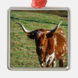 Brown and White Longhorn Bull Metal Ornament
