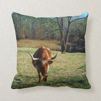 Brown and white longhorn Cow Throw Pillow