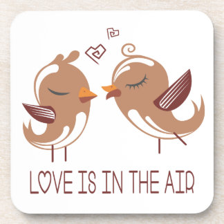 Brown And White Lovebirds Love - Wedding Birds Drink Coasters