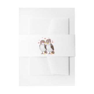 Brown and White Lovebirds Wedding Love Invitation Belly Band
