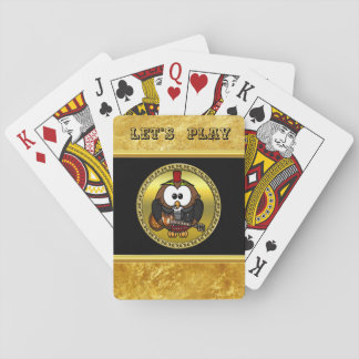 Brown and white owl playing a guitar with red hat playing cards