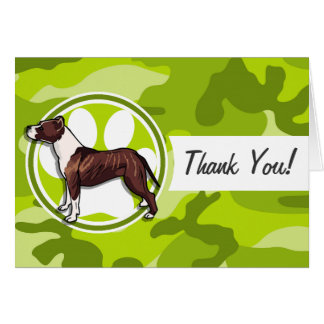 Brown and White Pit bright green camo camouflage Greeting Cards