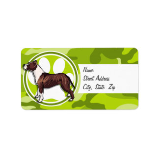 Brown and White Pit bright green camo camouflage Labels