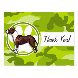 Brown and White Pit bright green camo camouflage Postcard