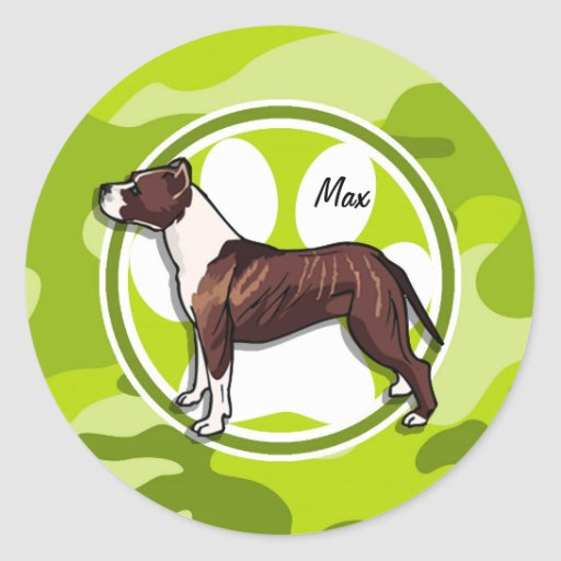 Brown and White Pit; bright green camo, camouflage Round Stickers