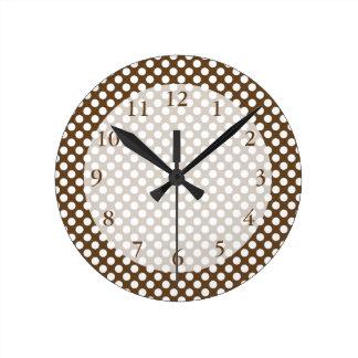 Brown and White Polka Dot Round Clock