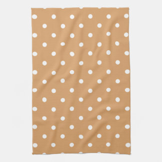 Brown and White Polka Dots Pattern. Kitchen Towel