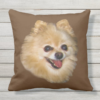 Brown and White Pomeranian Dog Customizable Outdoor Pillow