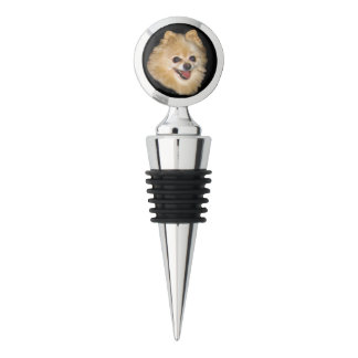Brown and White Pomeranian Dog Customizable Wine Stopper