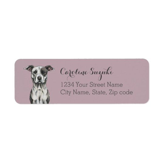 Brown and White Sitting Pit Bull Rendering Return Address Label