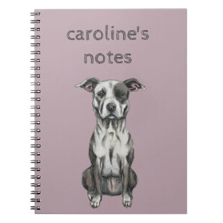 Brown and White Sitting Pit Bull Rendering Spiral Notebook
