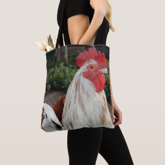 Brown And White Speckled Rooster, Tote Bag