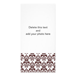 BROWN AND WHITE VINTAGE DAMASK PATTERN 2 CUSTOM PHOTO CARD