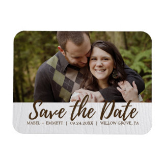 Brown and White Wooden Texture Save the Date Photo Magnet