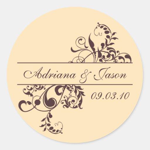 Brown and Yellow Flourish Monogram Sticker