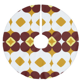 Brown and yellow flowers brushed polyester tree skirt