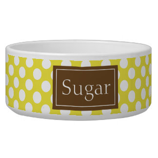 Brown And Yellow Polka Dots Pattern With Name Pet Bowl