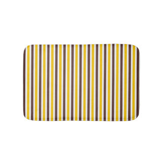 Brown and yellow striped pattern modern bath mat