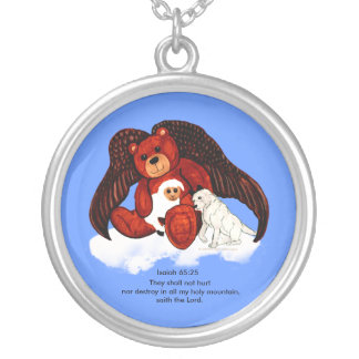 Brown Angel Bear Silver Plated Necklace