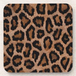 Brown animal print pattern coasters